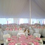 5 Round Table with White Linen Tablecloth & Pink Table Topper