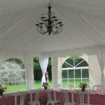 20x20 Frame Tent with French Window Walls Liner Side Pole Drapes and Chandelier