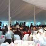 40x80 Century Tent Elegantly Decorated with Interior Liner and Pink Accessories22