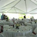 40 Wide Frame Tent with Clear Walls and Side Pole Drapes22