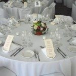 5 Round Table with Linen Tablecloth & Chairs with Chair Covers22